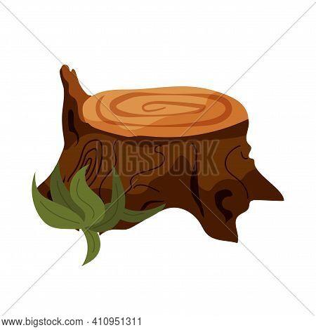 Illustration Of Tree Stump And Mushroom. Stump Illustration, Brown, Old, Unique, Forest