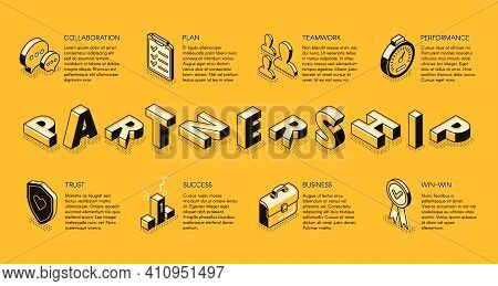 Business Partnership Line Art, Isometric Vector Banner. Corporate Principles, Business Teams Collabo