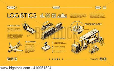 Business Logistics Isometric Vector Web Banner, Swipe Landing Page Template With Truck Delivery, Fre