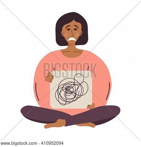 Tired Woman Sits In Lotus Position With A Sign In Her Hands, Confused Thoughts. A Tired Woman Is In