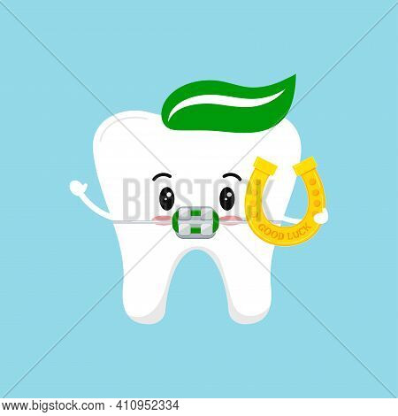 St Patrick Day Tooth Dental Braces Icon Isolated. Orthodontic Dentistry Teeth Character With Irish L