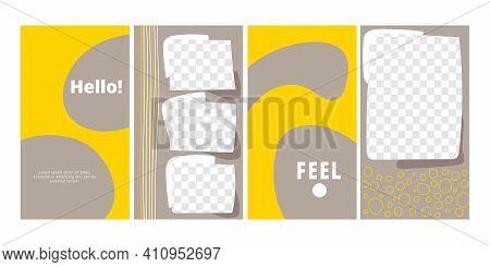 Set Of Trendy Style Posters. Yellow Grey Phone Digital Decor Wallpaper, Widget Design, Aesthetic Loc