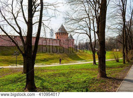 Veliky Novgorod, Russia - April 29, 2018. Kremlin Fortress In Sunny Day. Towers Of Veliky Novgorod K