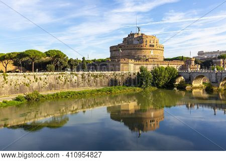 Rome, Italy - October 9, 2020: 2nd Century Castle Of Saint Angel, Mausoleum Of Roman Emperor Hadrian