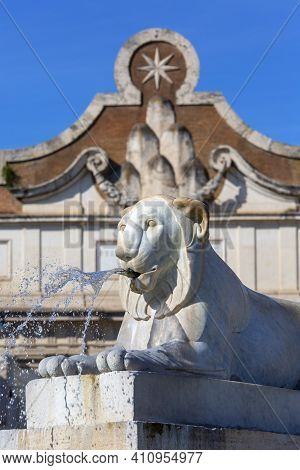 Rome, Italy - October 9, 2020: 15th Century Porta Del Popolo, Gate Of The Aurelian Walls And The Sto