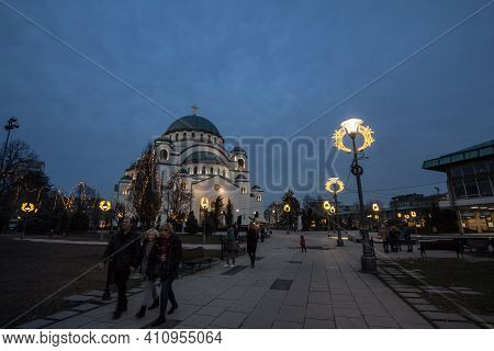 Belgrade, Serbia - February 10, 2019: Saint Sava Cathedral Temple (hram Svetog Save) With A Crowd Of