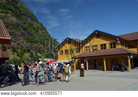 marine of famous Flam . Tourism vacation and travel. Sognefjord.June 17,2018. Flam Norway Scandinavia.