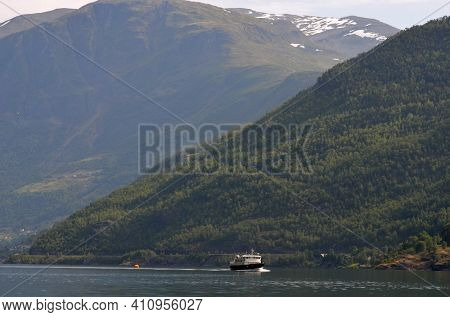 Marina of famous Flam . Tourism vacation and travel. Sognefjord.June 17,2018. Flam Norway Scandinavia.