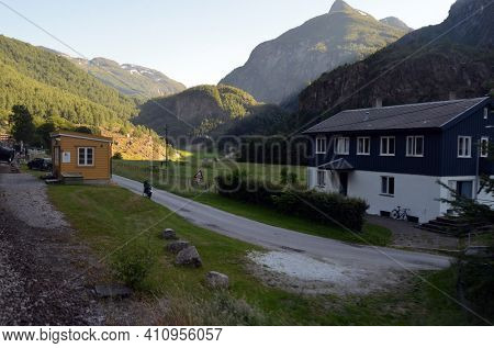 Beautiful Norwegian countryside .June 17,2018. Flam, Norway, Scandinavia