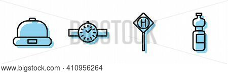 Set Line Parking, Beanie Hat, Wrist Watch And Bottle Of Water Icon. Vector