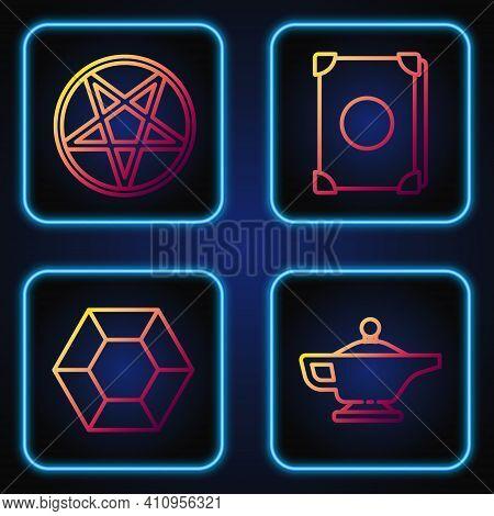 Set Line Magic Lamp Or Aladdin, Magic Stone, Pentagram In A Circle And Ancient Magic Book. Gradient