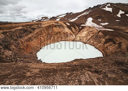Viti Sulfur Lake In Caldera Of Askja Volcano Crater In Iceland, Travel North Landscape. Panoramic Vi