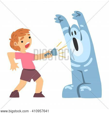 Childhood Fear With Scary Monster Frightening Little Boy With Flashlight Vector Illustration