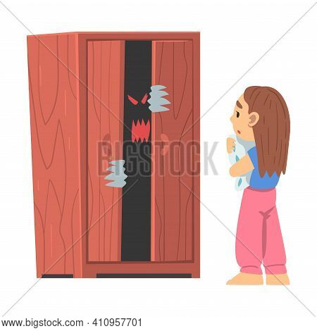 Childhood Fear With Scary Monster Peeped Out Wardrobe Frightening Little Girl Vector Illustration