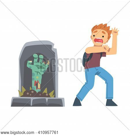 Little Boy Screaming Imagining Zombie Hand Appearing From Tomb As Childhood Fear Vector Illustration
