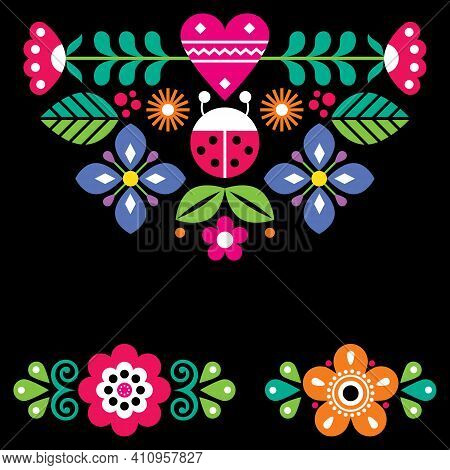 Scandinavian Cute Folk Vector Greeting Card Pattern With Ladybird And Flowers On Black Background