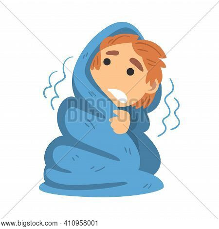 Little Fearful Boy Covered With Blanket Trembling With Fear Afraid Of Something Vector Illustration