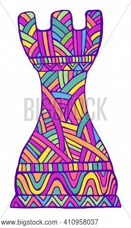 Bright Rook Chess Piece With Decorative Abstract Patterns Doodle Style, Isolated On White.
