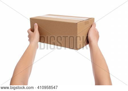 Male Hands Giving Cardboard Box Isolated On White Background