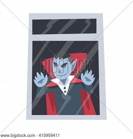 Spooky Count Dracula Or Vampire Monster As Grotesque Creature With Terrifying Appearance Standing Be