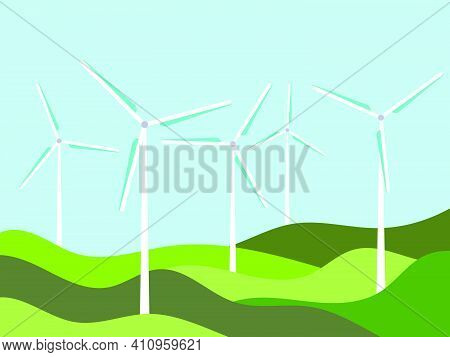 Wind Turbines Among Green Fields In A Minimalistic, Flat Style. Wind Park. Renewable Green Energy, C