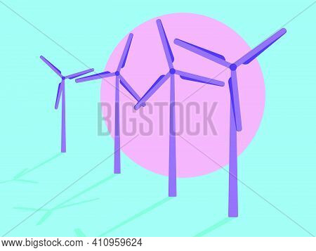 Wind Turbines At Sunset, Pink Sun In The Style Of The 80s. Wind Park. Renewable Green Energy, Clean