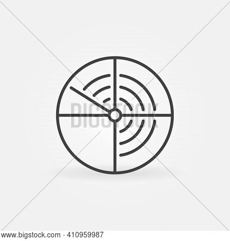 Navy Sonar Vector Concept Round Icon Or Symbol In Thin Line Style