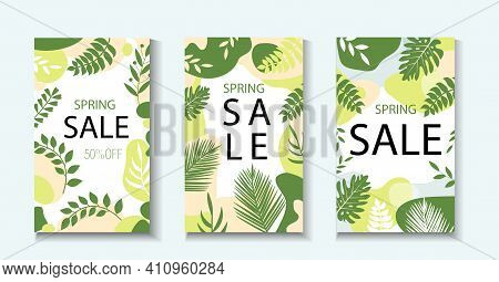Hello Spring. Collection Of Abstract Background Designs, Spring Sale Template For Your Design With L