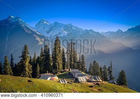 Camping Site On The Beautiful Landscape Of Himalayan Mountains, Kasol, Parvati Valley, Himachal Prad