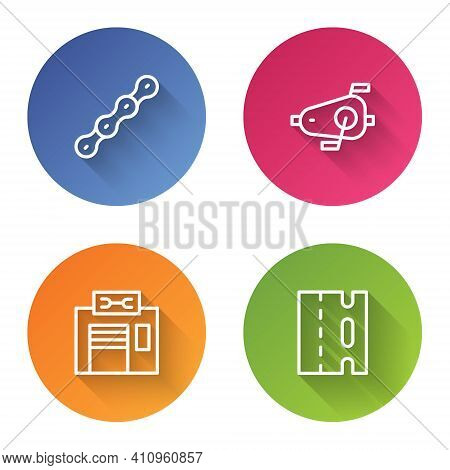 Set Line Bicycle Chain, Pedals, Repair Service And Lane. Color Circle Button. Vector