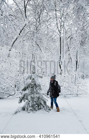 Young Smiling Woman Standing Near To A Small Fir Tree In A Snow-covered Winter Forest. Snowy Winter