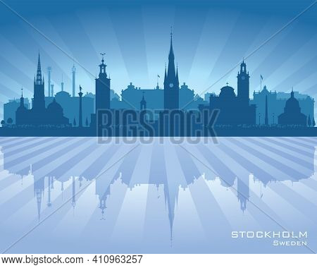 Stockholm Sweden City Skyline Vector Silhouette Illustration