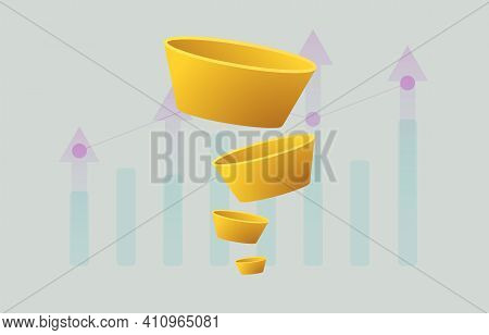 Yellow Customer Sales Funnel, Conversion Optimization Concept With Big Data Chart For Marketing And