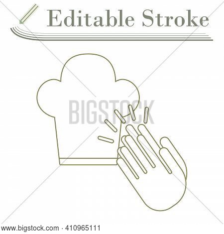 Clapping Palms To Toque Icon. Editable Stroke Simple Design. Vector Illustration.