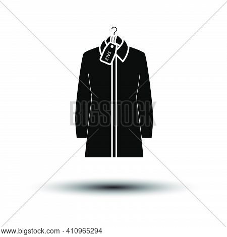Blouse On Hanger With Sale Tag Icon. Black On White Background With Shadow. Vector Illustration.