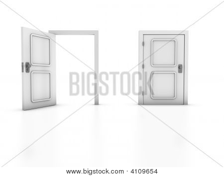 3D render of two doors isolated on white background. Concept: Choice Exit. poster