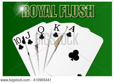 Clubs Royal Flush Hand Of Cards, Hearts Suit, On Playing Baize, Close-up. Vector For Casino Apps And