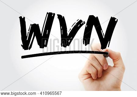 Wvn - Withdraw Voucher Note Acronym With Marker, Business Concept Background