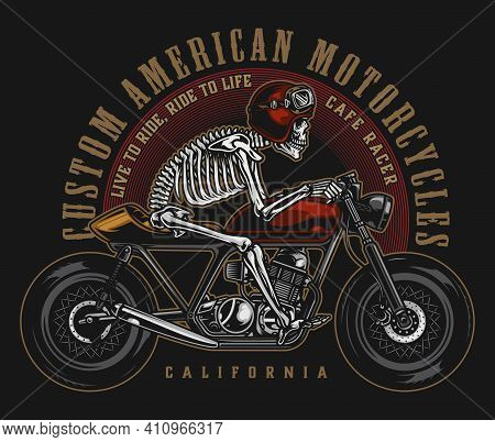 Cafe Racer Custom Motorcycle Vintage Label With Skeleton In Motorcyclist Helmet And Goggles Riding M