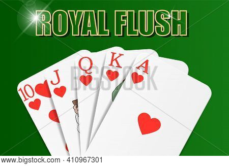 Heart Royal Flush Hand Of Cards, Hearts Suit, On Playing Baize, Close-up. Vector For Casino Apps And
