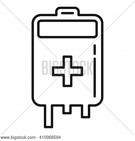 Blood Bag Icon. Outline Blood Bag Vector Icon For Web Design Isolated On White Background