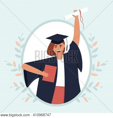 Framed Graduate With Diploma And Scroll. Close-up Of A Girl In A Black Dress And A Graduation Hat. T