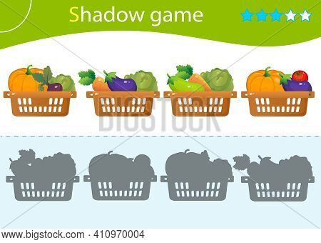 Shadow Game For Kids. Match The Right Shadow. Baskets Of Vegetables. Cabbage, Beetroot, Tomato, Eggp