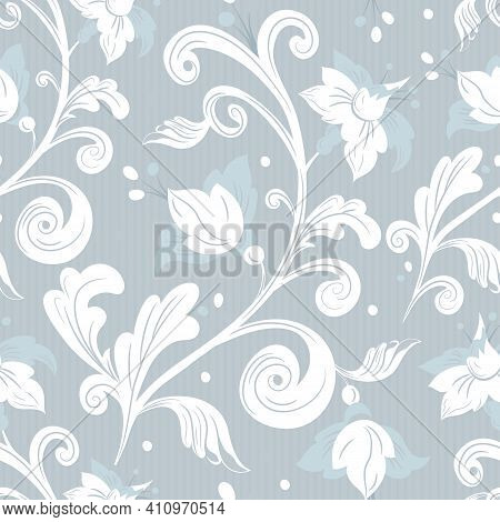 Rococo Floral Seamless Pattern.white Flowers, Leaves On Gray Background.damask Ornament, Royal Victo