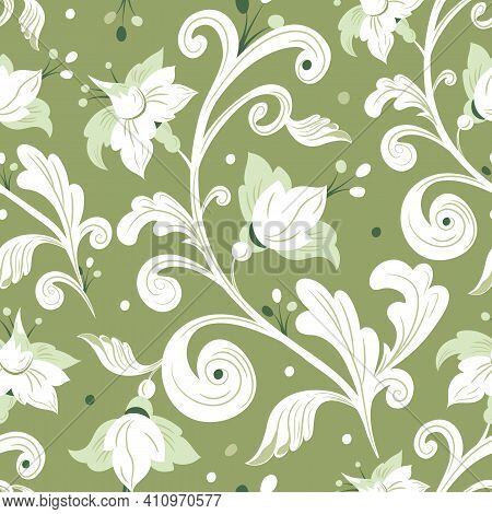 Rococo Floral Seamless Pattern.white Flowers, Leaves On Gray Background.damask Ornament