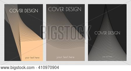Set Of Geometric Cover Design Tamplates With Simple Shapes On Dark Background For Albums, Notebooks,