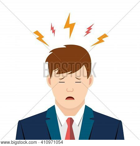 Young Man With A Headache. Stress Situation Concept. Fatigue Of Worker Person Is Suit. Vector Illust