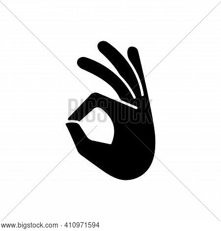 Okay Gesture Black Glyph Icon. Sign Or Ring Gesture. Perfect Symbol. Circle Made From Index And Thum