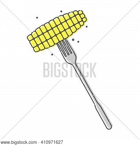 Yellow Corn On A Fork On White Background. Flat Style Illustration For Any Design. Healthy Supply. I