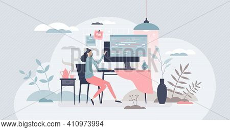 Coder Female As Professional Programmer For Web Scripts Tiny Person Concept